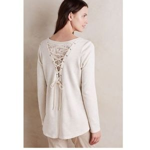 Anthropologie Lace-Up Pullover